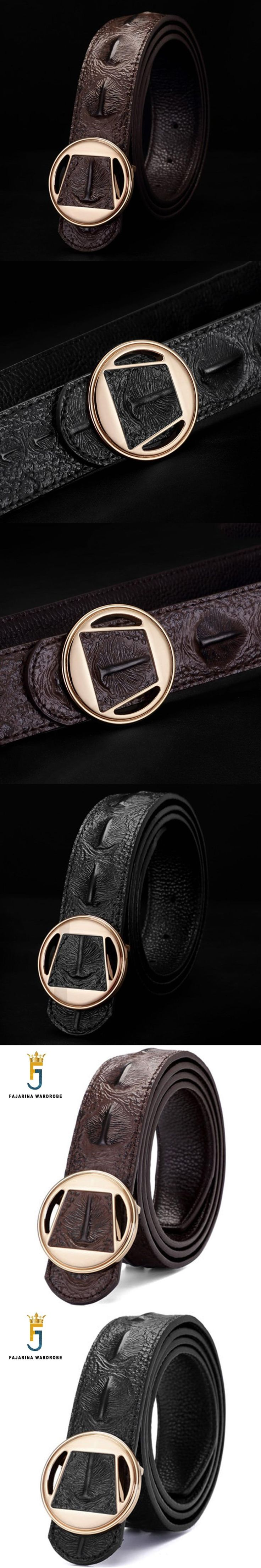 FAJARINA Unique Design Fashion Crocodile Print Pure Cowhide Genuine Belt Straped Leather Slide Buckle Belts for Men LUFJ420A