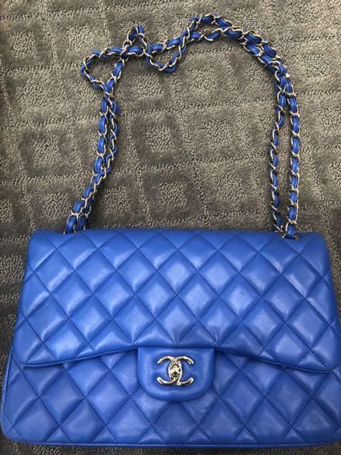 6eaaa63f920d8e AUTHENTIC Classic Chanel AG/Blue Lambskin Leather Jumbo Single Flap Bag