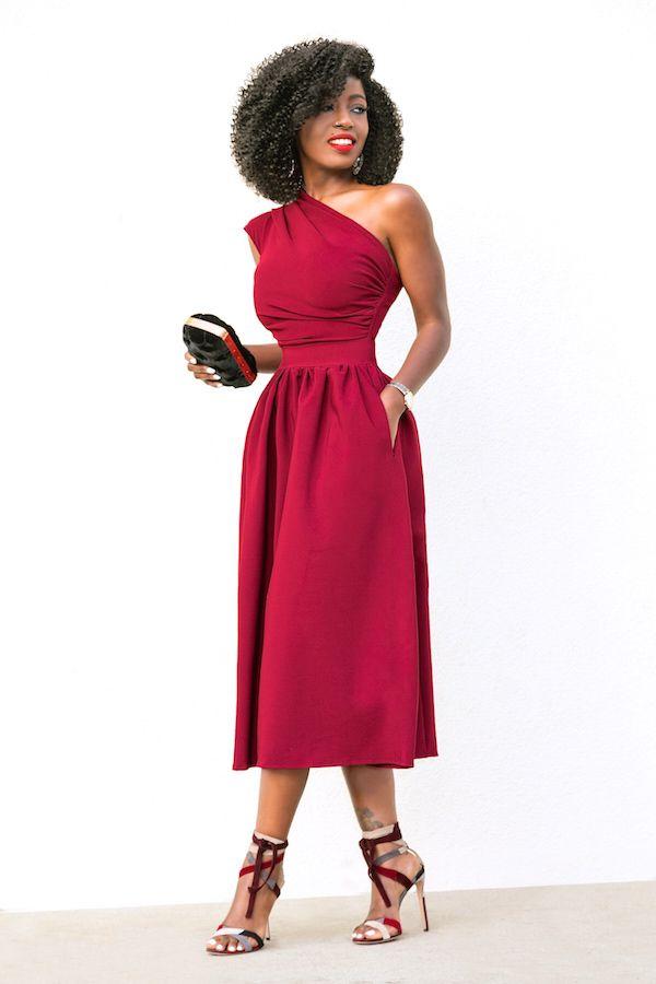 Style Pantry | One Shoulder Draped Midi Dress