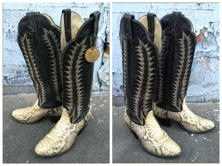 Vintage Cowboy Boots / Tony Lama Boots / Python Snakeskin Boots / Vintage Western Menswear / Men's Size 6M by HermannsAttic on Etsy https://www.etsy.com/ca/listing/470155251/vintage-cowboy-boots-tony-lama-boots