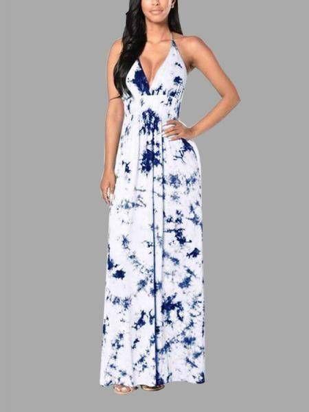 Sexy Blue Floral Print Deep V-neck Backless Maxi Dress