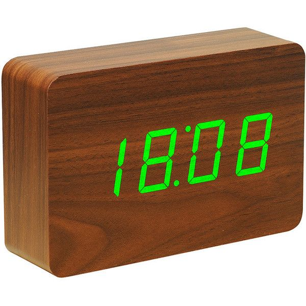 Gingko Brick Green LED Alarm Clock - Walnut found on Polyvore