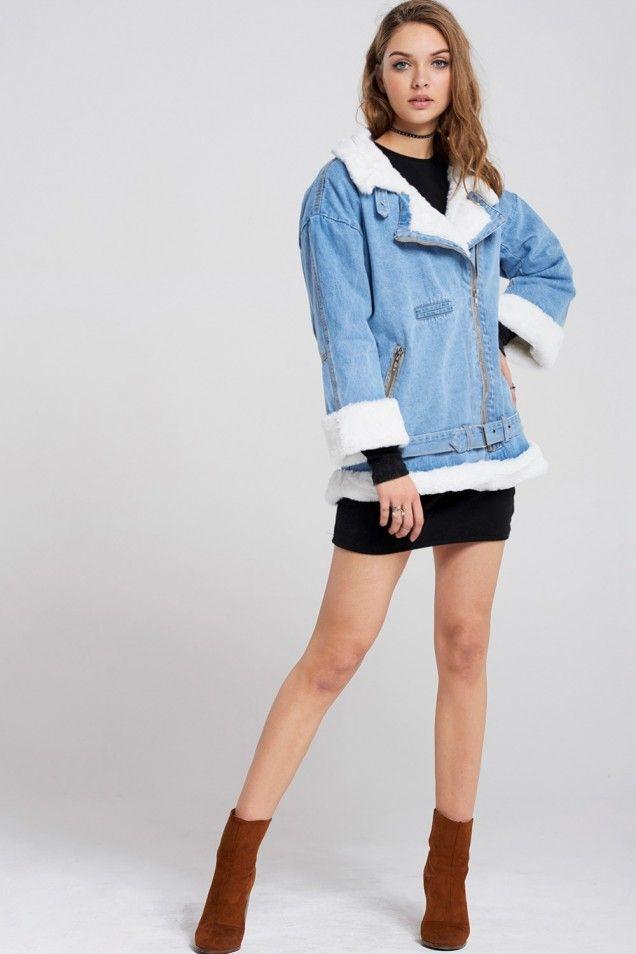 Clara Faux Fur Denim Jacket Discover the latest fashion trends online at storets.com