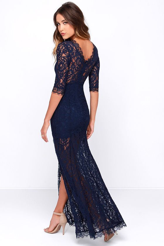 Once you set your sights on the Only One Navy Blue Lace Maxi Dress all other options will fade into the background! Sheer navy blue lace elegantly graces the fitted bodice of this stunning dress, with a high rounded neckline and half sleeves trimmed in delicate eyelash lace. A sweetheart silhouette, and sheer back takes shape thanks to the stretch knit lining beneath that ends at mid-thigh above a romantic maxi skirt with flaring godets and a sexy side slit. Hidden back zipper with clasp.