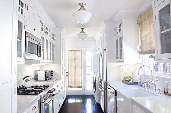 Traditional white themed galley kitchen