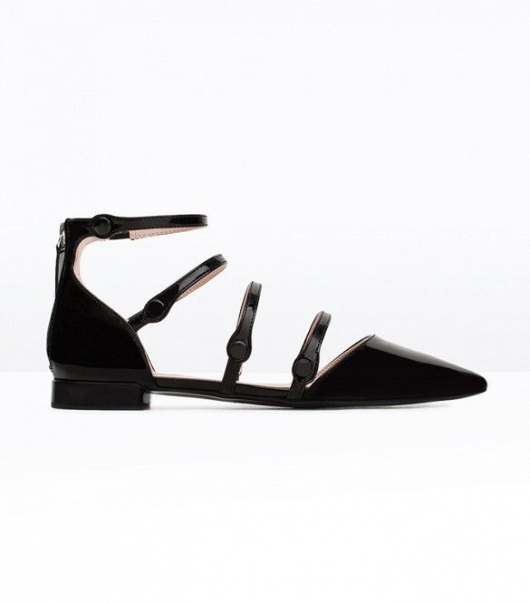 Zara Flat Court Shoe With Ankle Strap