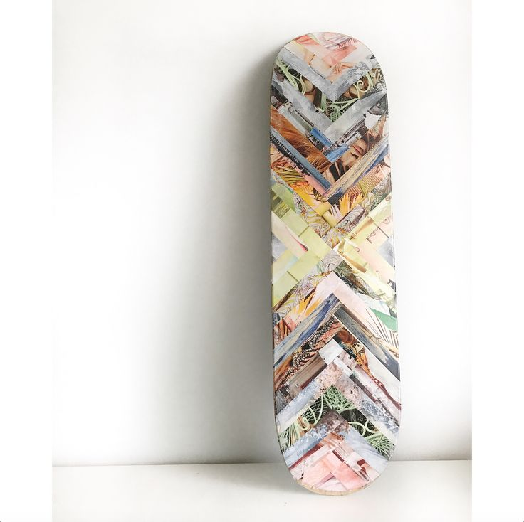 Magazine paper collage on skateboard by Patricia Doucet artist #chevron #collage #artwork #skateboard