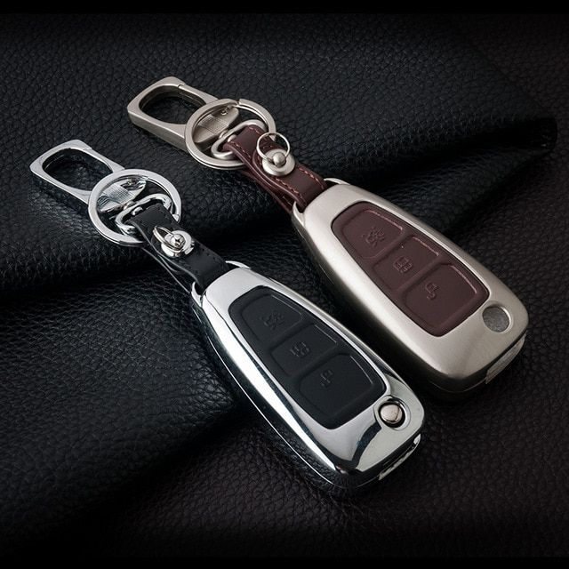 Zinc Alloy Leather Car Remote Key Cover Case For Ford Focus 2 3 4
