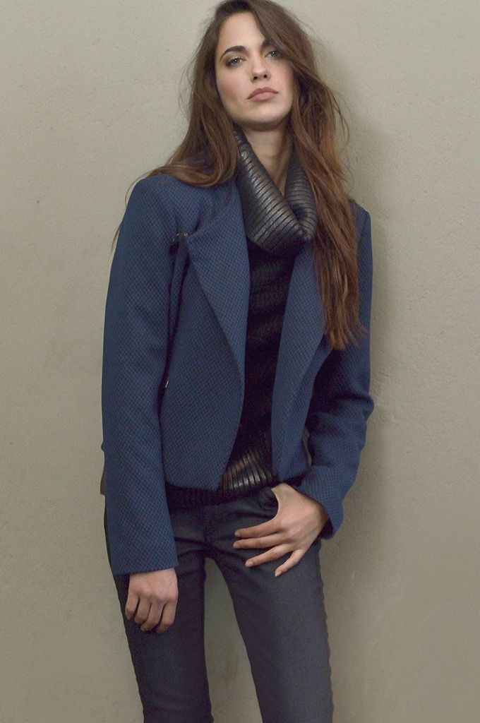 Sarah Lawrence - side buttoned textured blazer, long sleeve cowl-neck sweater with foil print, denim skinny pant.