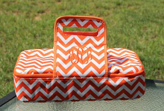Monogrammed Orange and White Chevron Casserole Carrier- University of Tennessee- Vols-- Game day- Tailgate