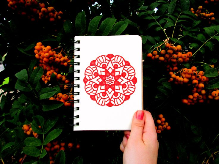#мандала #оранжевый #блокнот #природа #рябина