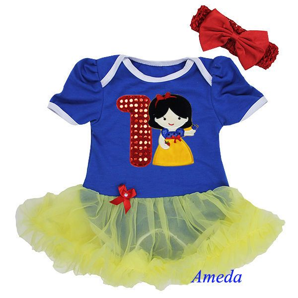 Baby Snow White Princess Romper Bodysuit 1st Birthday Pettiskirt Party Dress