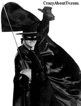 ZORRO - Série télévisée américaine  produite par les studios Disney et diffusée en noir et blanc (1957-61) sur le réseau ABC. En France, la série a été diffusée pour la première fois à partir du 7 janvier 1965 - Acteur : Guy Williams (Don Diego/Zorro)