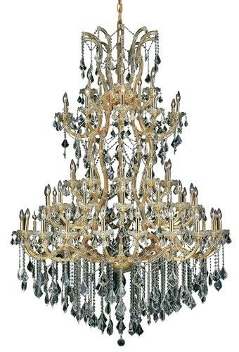 2800 Maria Theresa Collection Large Hanging Fixture D54in H72in Lt:60+1 Gold Finish. 2800 Maria Theresa Collection Large Hanging Fixture D54in H72in Lt:60+1 Gold Finish (Royal Cut Crystal) Watts:Lumens:Lamp Type:Shape:Style:TransitionalLight Bulbs:61Bulb Type:E12Bulb Wattage:40Max Wattage:2440Voltage:110V-125VFinish:GoldCrystal Trim:Royal CutCrystal Color:Crystal (Clear)Hanging Weight:249Case Pack: 1Color: Crystal (Clear)