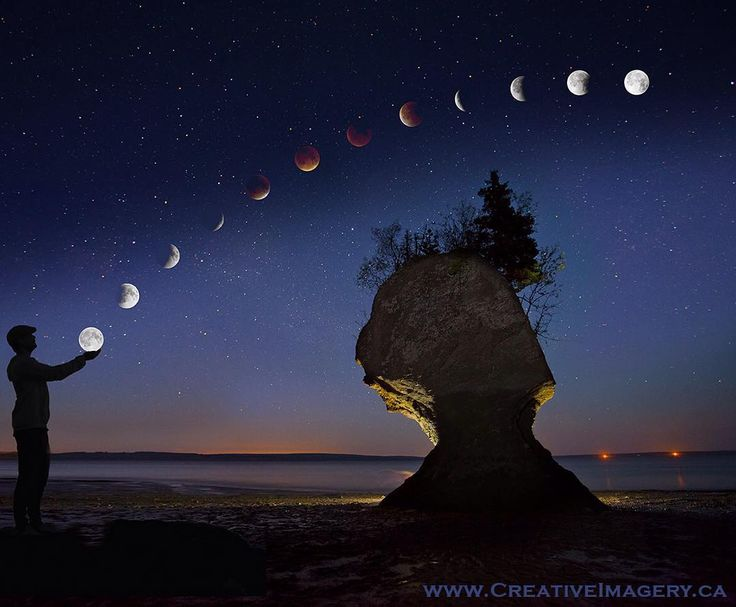 Kevin Snair at Creative Imagery created this incredible Blood Moon compilation using a shot he took of me while touring us around #NewBrunswick's Hopewell Rocks. It's just too cool not to share. #explorecanada #explorenb