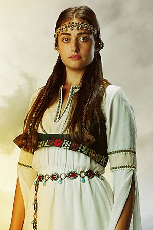 Esra Bilgic for the Turkish Tv series Dirilis Ertugrul as Halime Sultan