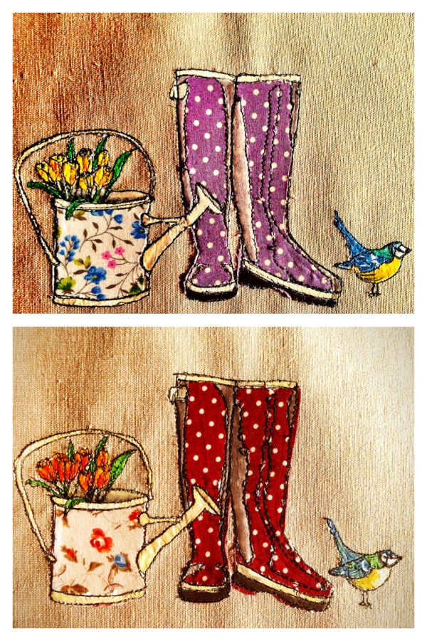 Spring themed textile art - this artist has a wonderful website!!