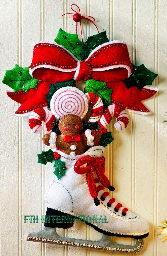 Bucilla Holiday Skate  fieltro Navidad colgante de pared Kit