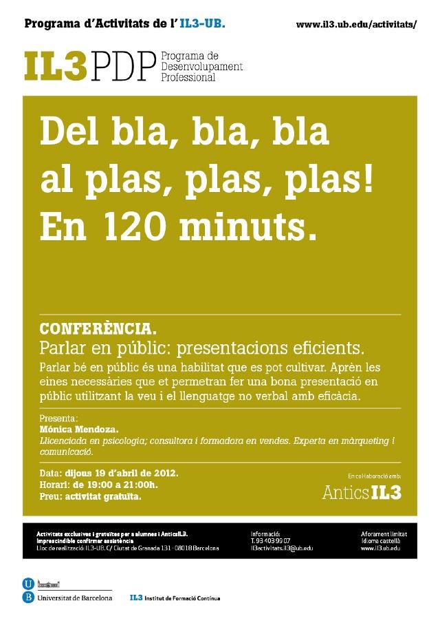 Póster para campaña IL3 Universitat de Barcelona: Conferencia: hablar en público.