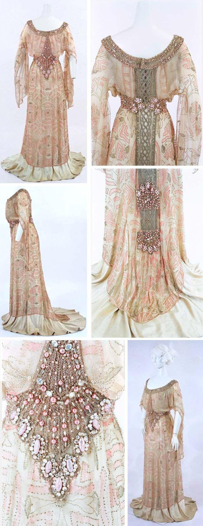 "Evening dress, Jacques Doucet, circa 1910. Silk satin and chiffon, beads, faux pearls, and rhinestones. ""Pouter pigeon"" bodice creating ""S"" shape. Via Bunka Gakuen Costume Museum, Tokyo."
