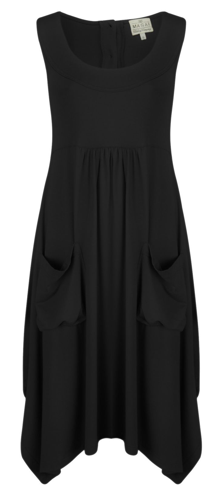 Masai Clothing Orinda Wide Bottom Dress (Black) at Gemini Woman I love dresses with flow and POCKETS