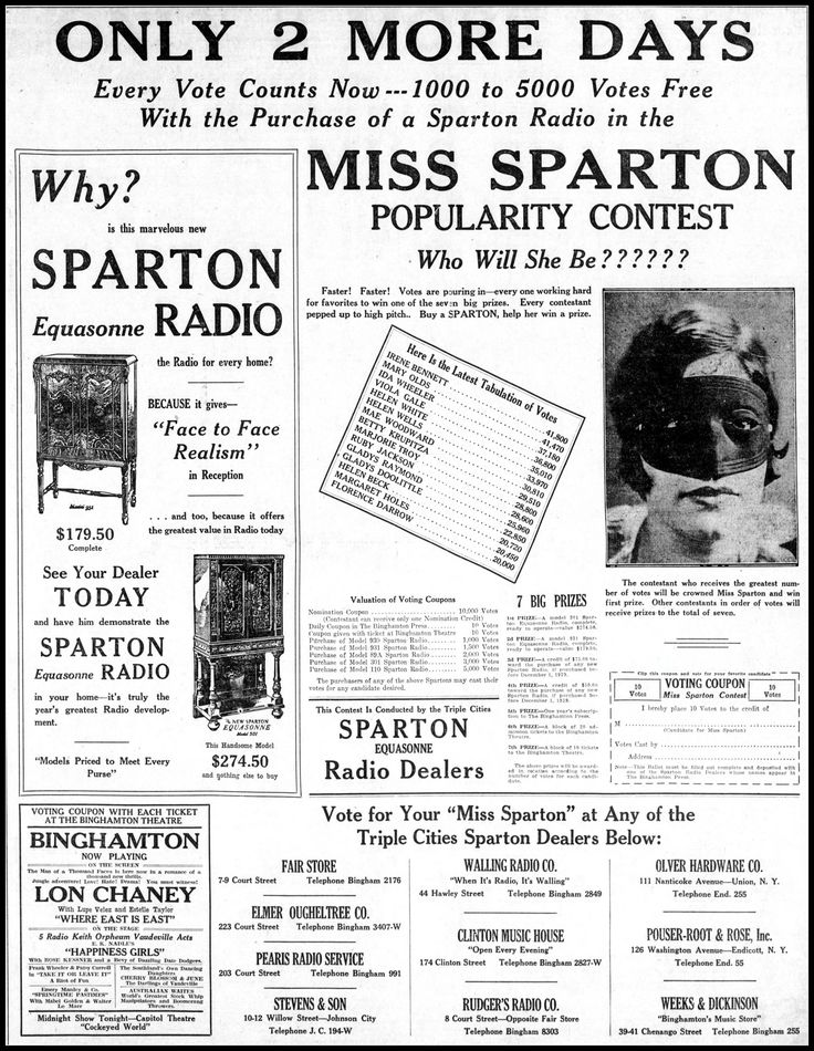 https://flic.kr/p/SQ5Pth | Vintage Sparton Radio Advertising In The Binghamton New York Press and Sun Bulletin Newspaper, October 10, 1929