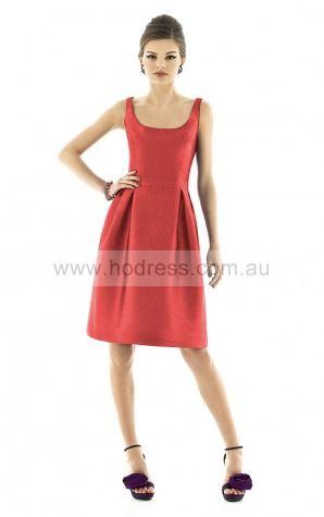 Sleeveless Zipper Square Knee-length Satin Evening Dresses esfa307177--Hodress