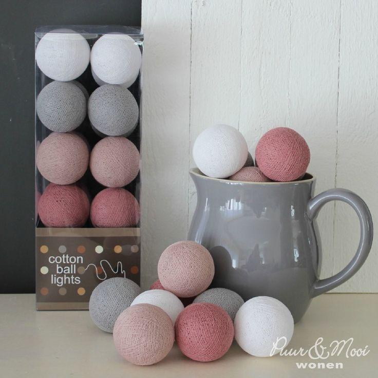 Cotton Ball Lights Oud Roze/Grijs