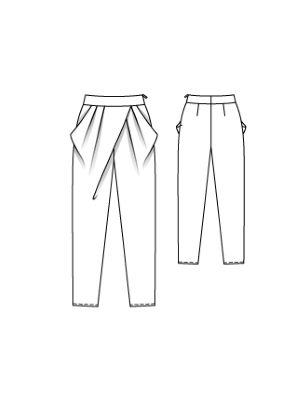 Брюки с цельнокроеными карманами - выкройка № 106 из журнала 11/2016 Burda – выкройки брюк на Burdastyle.ru