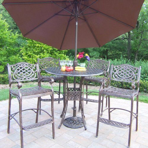 Oakland Living Elite Mississippi Cast Aluminum 42 In. Bar Height Patio  Dining Set With Tilting