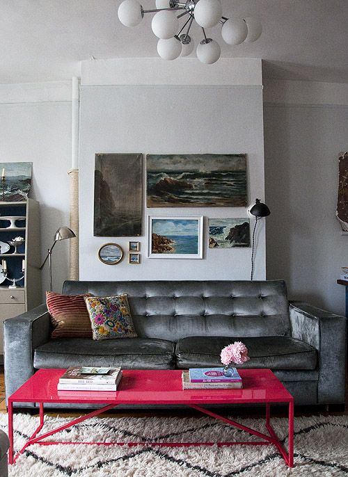 Amy azzarito's NYC home via d*s - lots of inspiration in kitchen, bath etc... wunderkmmer art, dark walls.. here i like the funky pendant light from ceiling