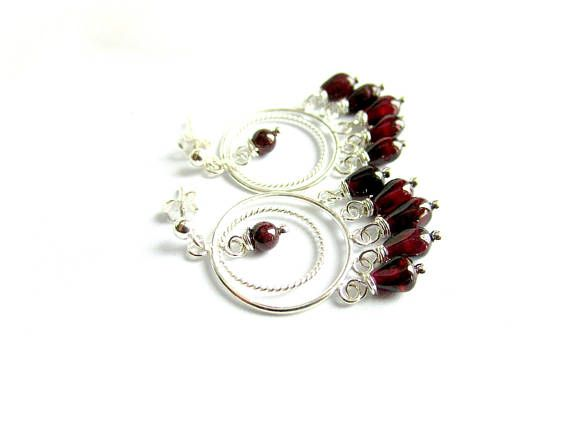 Red garnet chandelier earrings sterling silver gemstone