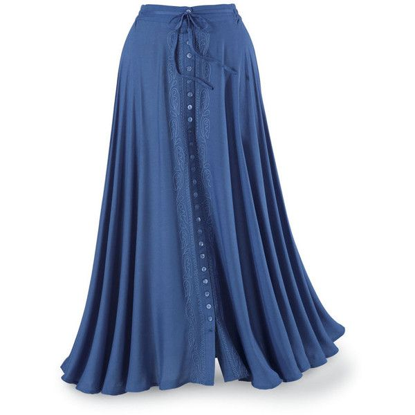 Embroidered Button Front Maxi Skirt Size Small ($70) ❤ liked on Polyvore featuring skirts, bottoms, saias, blue skirt, long skirts, long floor length skirts, front slit maxi skirt and ankle length skirt