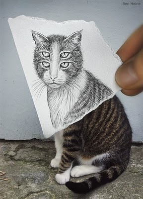 This one makes me dizzy: Optical Illusions, Ben Heine, Drawings Art, Cat Illustrations, Camera, Pencil Drawings, Trippy, Photo, Eye
