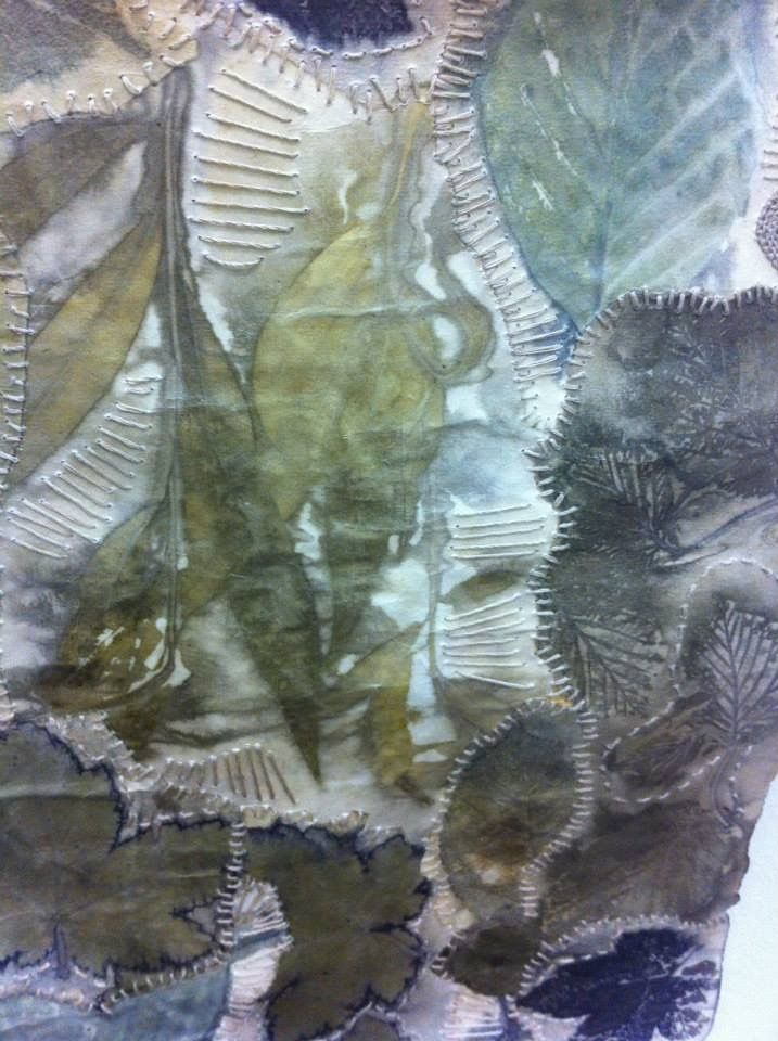 Detail of eco-printed work by Caroline Bell. Pin via Workshop on the Web's FaceBook page.