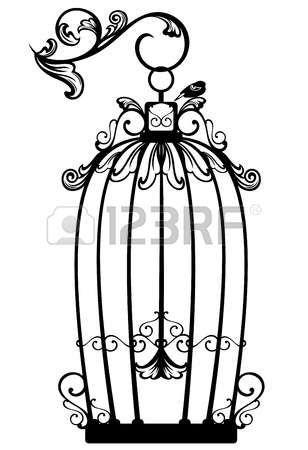 siyah ve beyaz dekoratif anahat - ücretsiz bir kuş vintage görünümlü açık birdcage photo