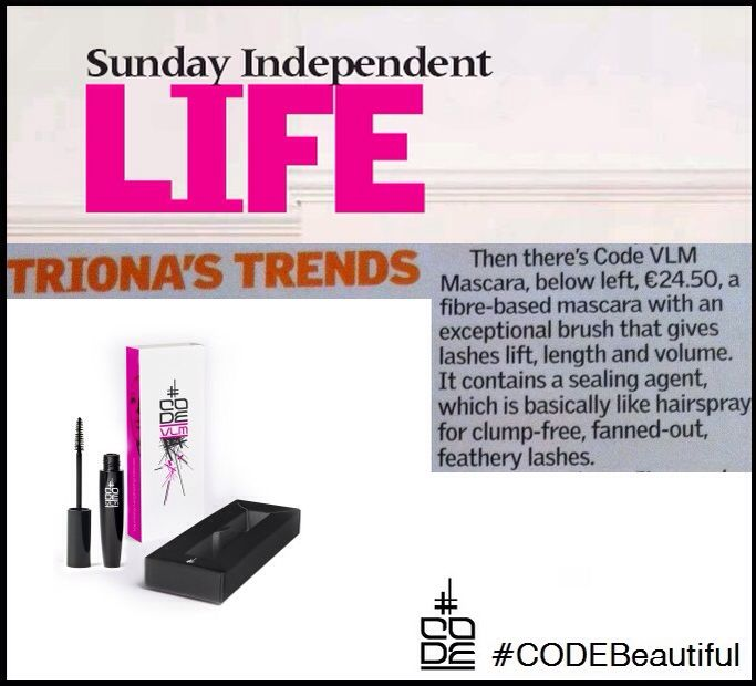 Any of you lovely peeps in #ireland pick up Sunday's Independent? We're in Triona McCarthys Beauty Column... #CODEBeautiful #mascara #musthave #clumpfree #featherylashes