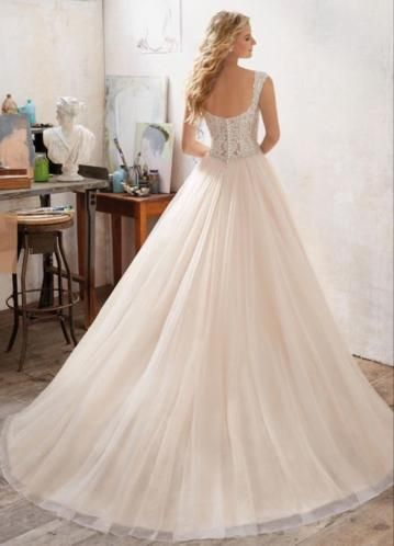 Bruidsjurk prinsessen style met sweetheart neckline en kant
