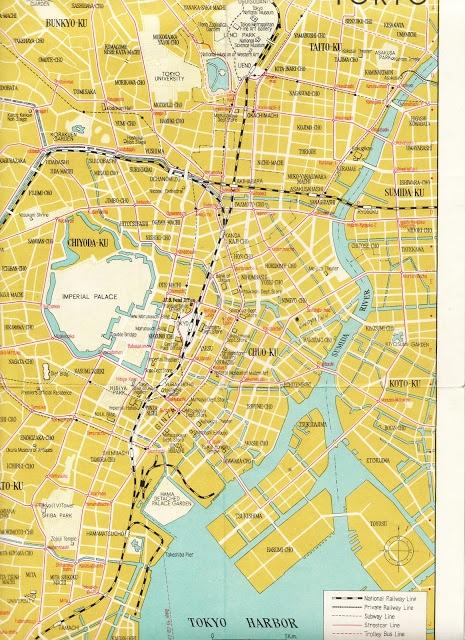 Vintage tourist Map of Tokyo.