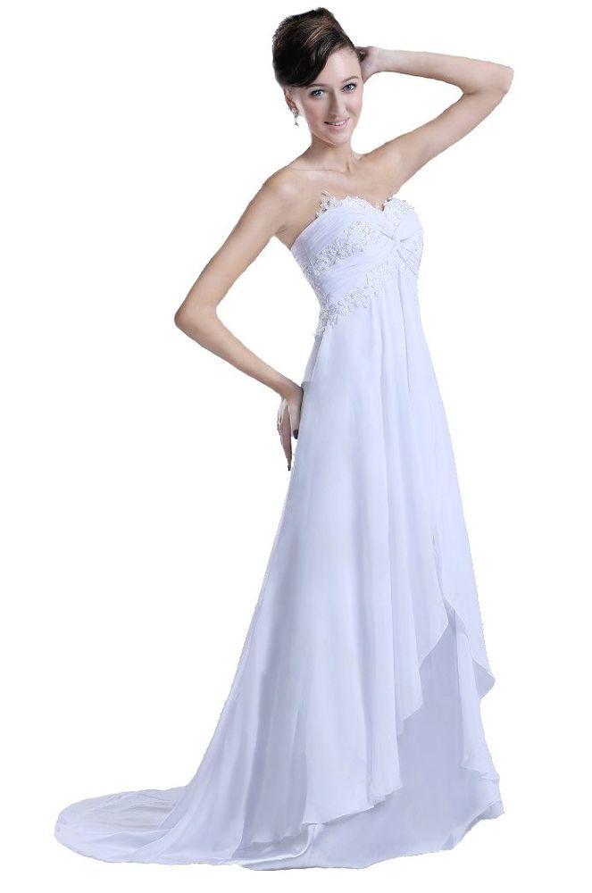 Stock White/Ivory Chiffon Beach Wedding Dress Bridal Gown Size:6 8 10 12 14 16