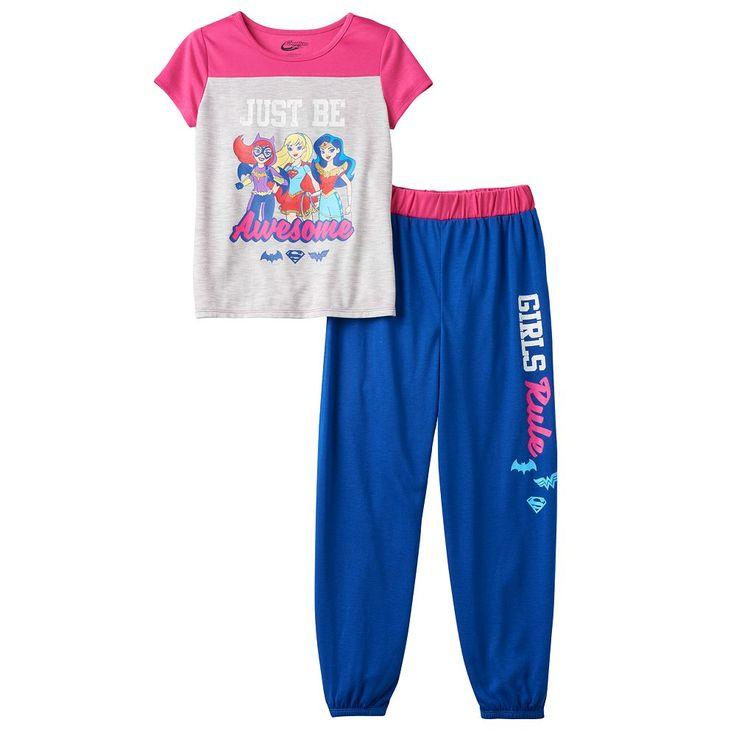 "Girls 4-12 DC Super Hero Girls Batgirl, Supergirl & Wonder Woman ""Just Be Awesome"" Pajama Set, Size: 14-16, Ovrfl Oth"