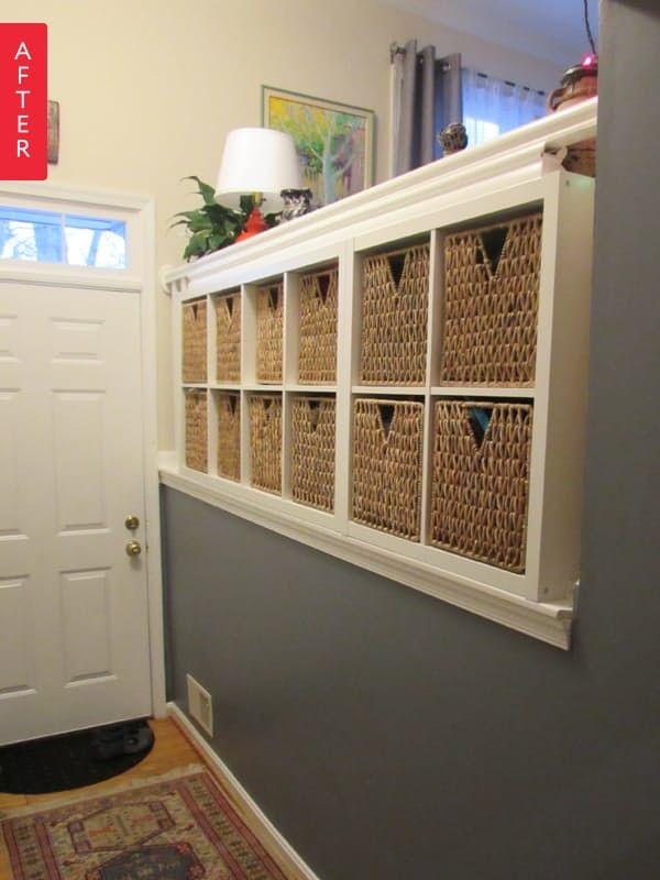 Ewa and husband Andrew approached their new home's balustrade in an interesting way. With only a tiny hall closet, they could benefit from some additional storage. See what they did with a trip to IKEA: