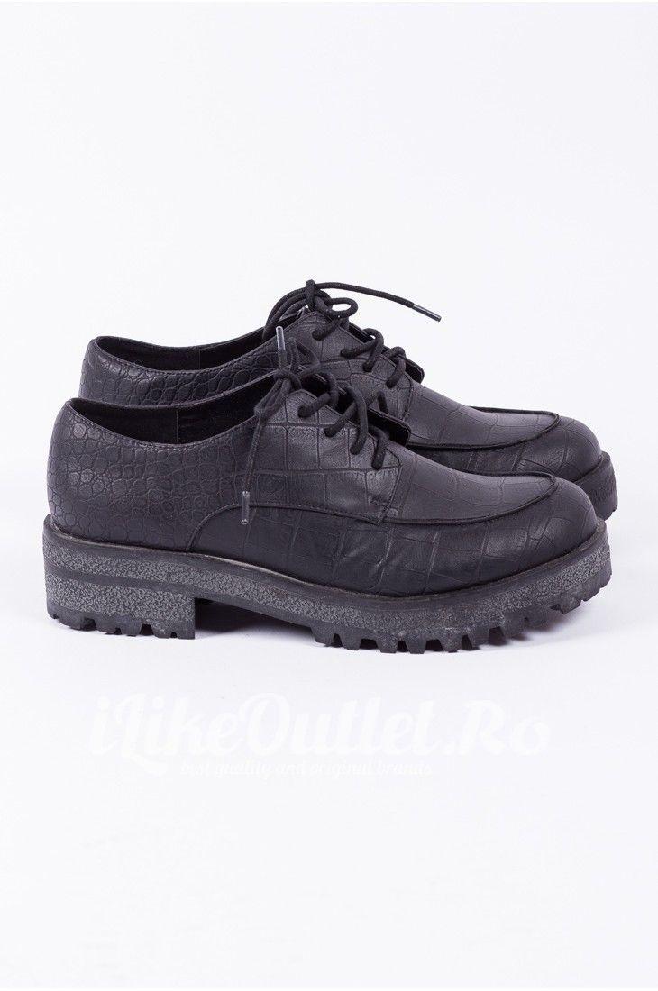 Pantofi negri cu siret ASOS