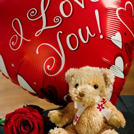 I Love You Gift - Show them just how much you love them with a fun 18 inch  'I Love You' red heart shaped helium balloon accompanied by a luxury single red Rose and a cuddly teddy bear.