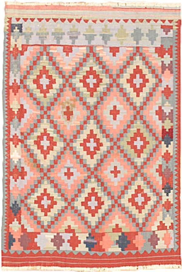 Hand woven Ottoman Kilim Aqua 2, Red Wool Kilim