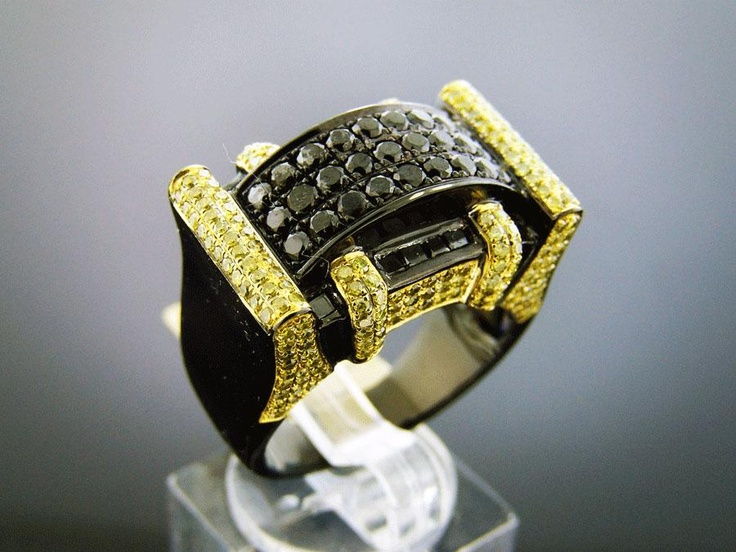 Men s 10K Black Gold 3 15Ct Canary Diamond Ring Size 10 Special order rin