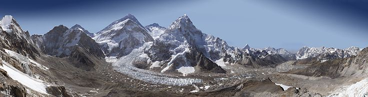 This gigapixel image of the Khumbu glacier was captured by David Breashears during the spring of 2012, from the Pumori viewpoint near Mount Everest. The Khumbu Icefall is clearly visible here, and one can easily see the hustle and bustle of Everest Base Camp below.