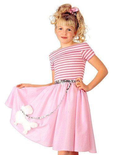 Kids Girls 50s Sock Hop Poodle Skirt Halloween Costume Dress