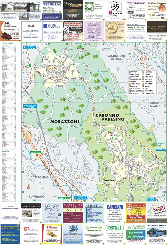 La mappa dettagliata e lo stradario dei due comuni: Caronno Varesino e Morazzone