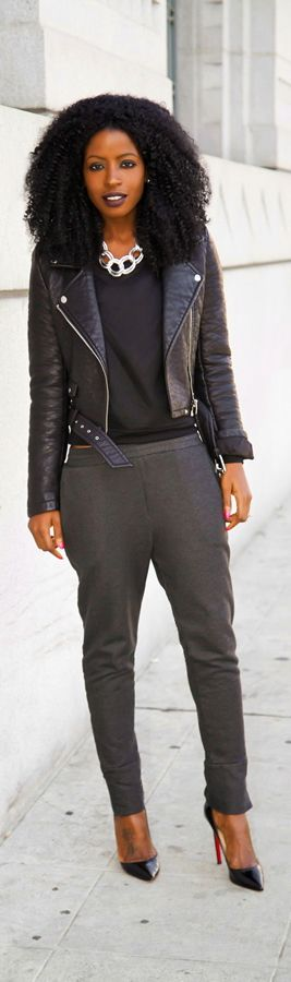 Moto Jacket + Quilted Crew Neck + Joggers